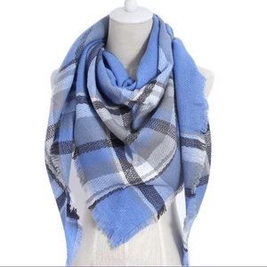 Light Blue Plaid Triangle Scarf